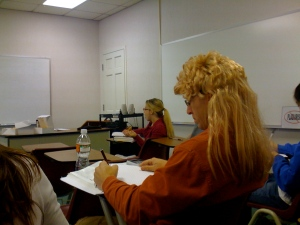 shane kelehan and david wearing wigs to a Physics Exam to keep it light